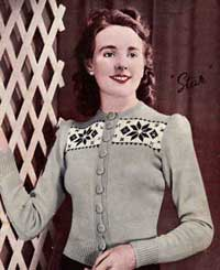 Ladies 'Star' cardigan from Charm Book 8, early 1940s.