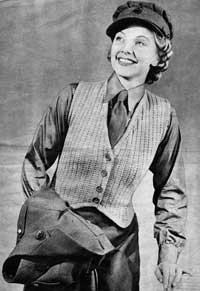 Woman's Waistcoat from Essentials for the Forces (Jaeger Hand-Knit Series No. 44), 1940s.