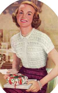 Lace-Knit Blouse from Needlework illustrated, No. 215,