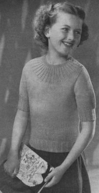 Mock Cable Jumper from From Stitch Needlecraft and Home Feature Magazine, Vol. 6, No. 4, January 1954.