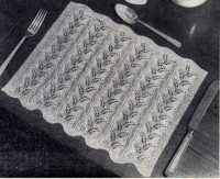Knitted placemats From Stitch Needlecraft and Home Feature Magazine, Vol. 7, No. 4, 1955.