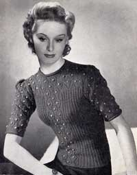 Ladies 'Bobble' jumper from Stitchcraft number 94, early 1940s.