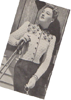 Model in ski jumper, 1940.