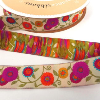 Ribbon - Cream Ground Floral