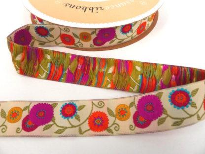 Ribbon - Cream Ground Floral