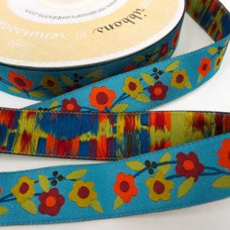 Ribbon - Turquoise Ground Flowers