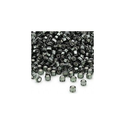 #6 Seed Bead - Gunmetal, silver-lined, square hole