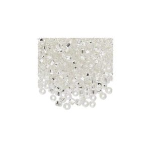 #6 Seed Bead - Clear, silver-lined, square hole