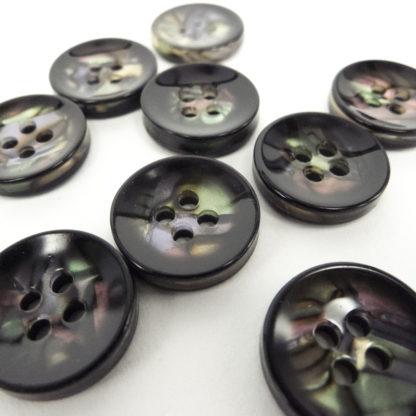 Button - Black Paua 15mm