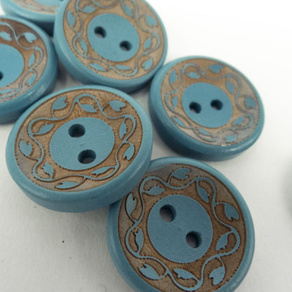 Teal Blue Engraved Wood Button
