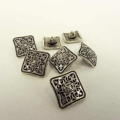 Button - Square silver metal