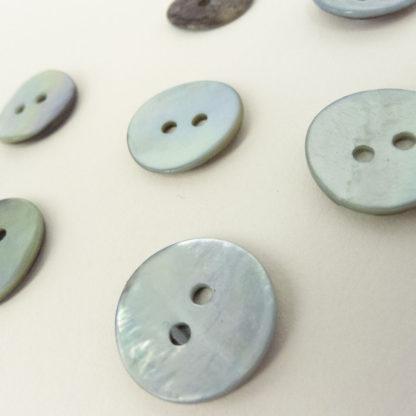 Light Blue Shell Buttons 15mm